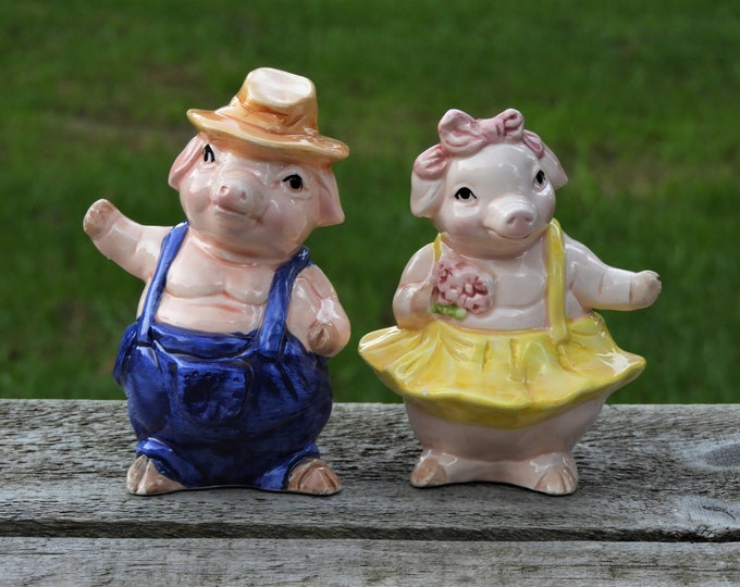 Vintage Pig Figurines (2), Farmer & Tutu Pig, Pink and Yellow Farm Figures, Decorative Hog Statues, Collectible Ceramics, Country Farm Decor