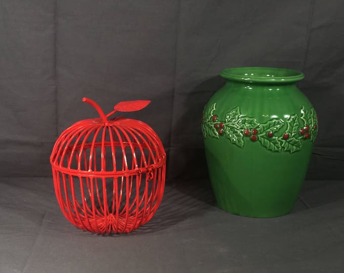 Vintage Apple Basket, Decorative Red Metal Cage, Hinged Apple Box, Fruit Shaped Metal Art, Quality Metal Desk Decor, Red Home Storage Art