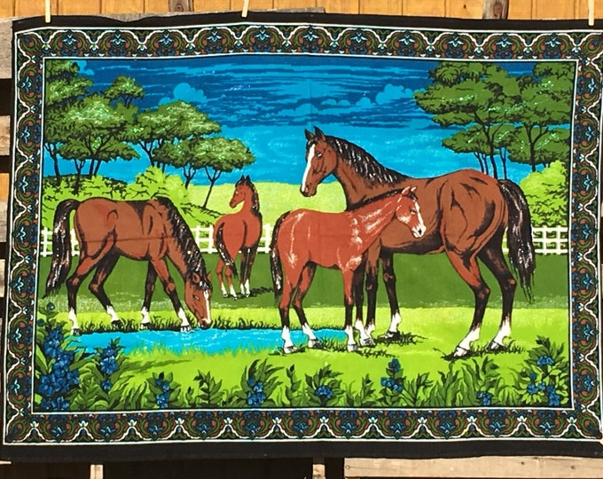Vintage Horse Tapestry, Decorative Green Blue Brown Fiber Art, Living Area Entryway Decoration, Rectangle Wall Hanging Decor, Western Art