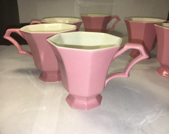Vintage Pink Mary Jane Mugs (6), 1776 Independence Cups, Ironstone Drinkware, Retro Dinnerware, Interspace Japan, Arch Handle