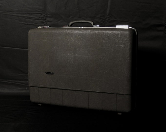 Vintage Forecast Suitcase, Sears Luggage, Hardshell Case, Brown Plastic, Chrome Closure, Aluminum Trim, Home Decor, Craft Supply