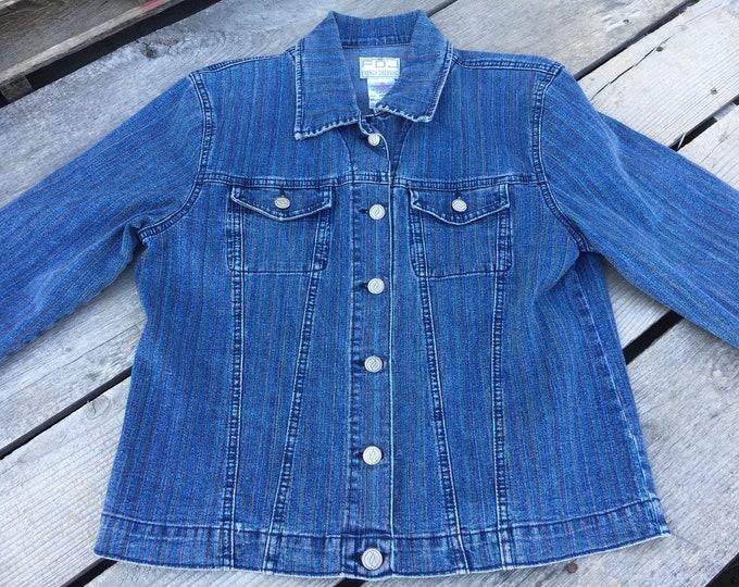 Vintage FDJ Jean Jacket, Womens M Rainbow Coat, French Dressing Jean Jacket, Striped Blue Coat, 1990s Retro Fashion, Cool Woman Jacket