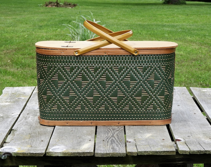 Vintage Picnic Basket, Woven Green, Wooden Frame, Mustard Metal Handles, Hawkeye Burlington, Brass Hinges, Home Decor, Bathroom Decorations