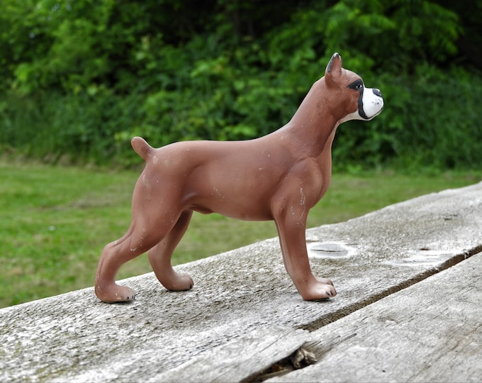 Vintage Boxer Statue, Porcelain Dog Figurine, Collectible Canine Figure, Dog Lovers Gift, Brown & White Animal Decor, Decorative Doggie