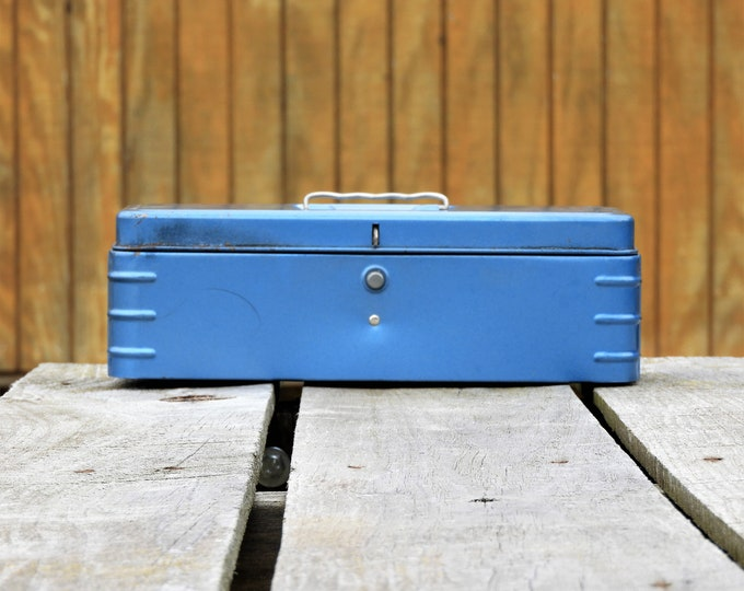 Vintage Tool Box, Rustic Blue Metal, Industrial Decor, Push Button, Aluminum Handle, Rectangular Shape, Craft Storage, Fishing Tackle Holder