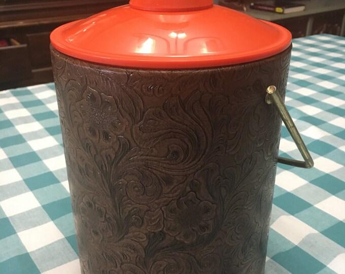 Vintage Retro Ice Bucket, Brown Leather Ice Bucket Orange Plastic Lid White Porcelain Knob, Leather Decorative Centerpiece Bucket