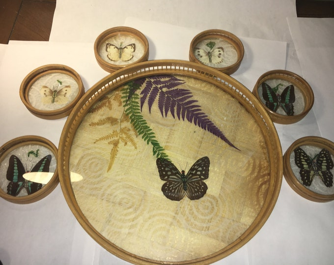 Vintage Retro 7-Piece Bamboo Butterfly Coaster Set Serving Tray Round Butterflies on Lace Himark Giftware Taiwan
