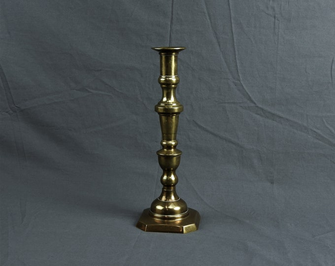 Vintage Brass Candleholder, Tall Candle Holder, Ceremonial Candlestick, Square Base, Home Decor, Chamber Stick, Heavy Centerpiece, Gold Look