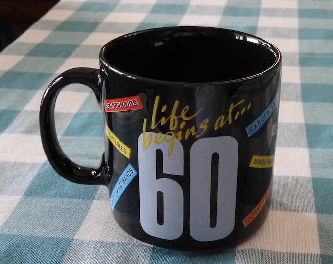 Vintage 60th Birthday Gift Mug, Black White Life Begins At 60 Mug Cup, Glass Gift Mug, Health Problems Retirement Mug, Made in Indonesia