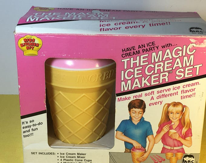 Vintage 1987 Ice Cream Maker Set, Gold Magic Childrens Gift Toy, Kids Craft Kit, Retro Kitchen Decorations, Collectible Yellow Ice Cream Cup