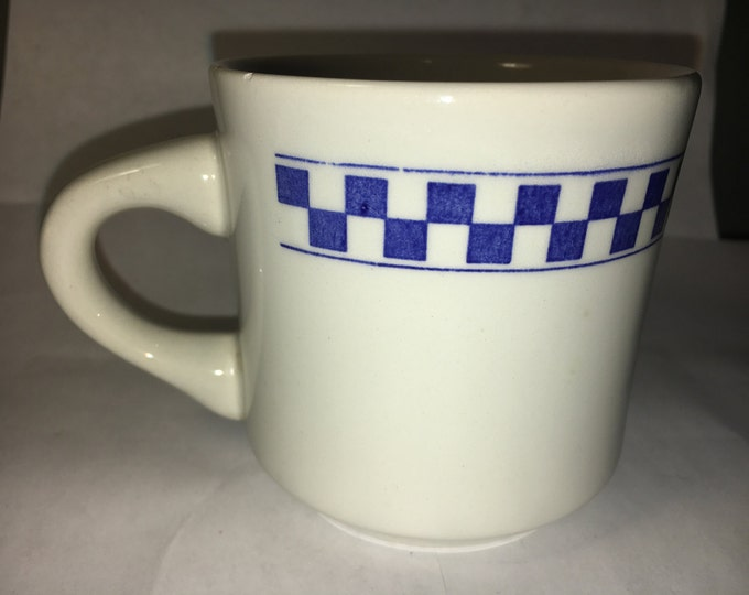 "Vintage Collectible Oxford Mug Blue White Checkered w/ Beefy Handle made in Brazil 3.25"" tall"