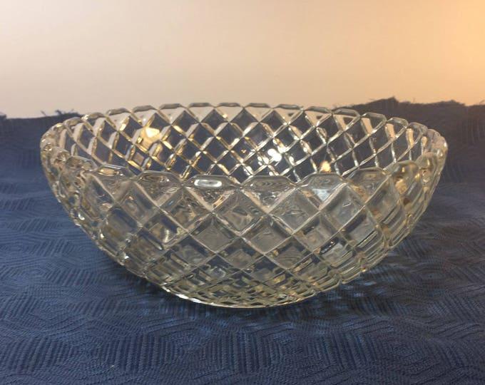 "Vintage Cut Glass Candy Dish Bowl, Diamond Design Cut Glass Nut Bowl, Scalloped Rim 8.25"" Cut Glass Decorative Bowl, Web Design Diamond Cut"
