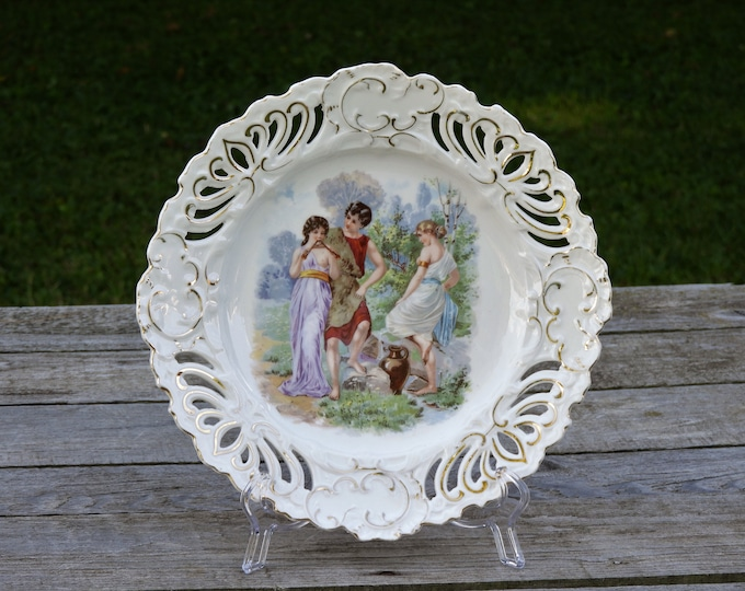 Vintage Innocence Plate, White Porcelain, Lattice w/ Gold Accents, Greco Roman Attire, Maidens and Lad, Entryway Decor, Home Decoration
