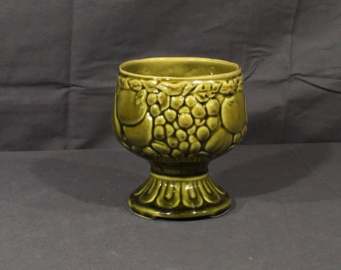 Vintage Green Goblet, American Bisque Vase, Collectible Ceramic Art, Mid Century Succulent Planter, Decorative Grape Theme Dish