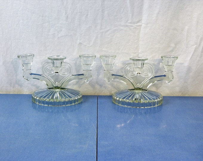 Vintage Glass Candelabras (2), Art Deco Decor, Triple Cup Candle Holders, Depression Sandwich, Clear Chamber Sticks, Entryway Decoration