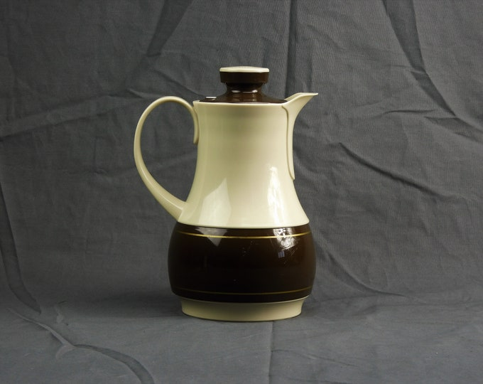 Vintage Thermos Carafe, Coffee Butler, 1 Quart Pitcher, Brown Beige Jug, 570 Ingried, Insulated Glass Interior, Serving Pot, Kitchen Decor