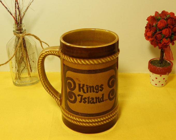Vintage Kings Island Souvenir Mug Stein, Brown Ceramic Kings Island Mug, Decorative Souvenir Mug Cup, Ohio Theme Park Mug, Retro Mug