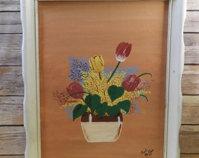 Vintage Oil Painting, Bob Hatten Signed Original, Floral Planter Decor, White Distressed Frame, Yellow Red Bouquet Wall Decor