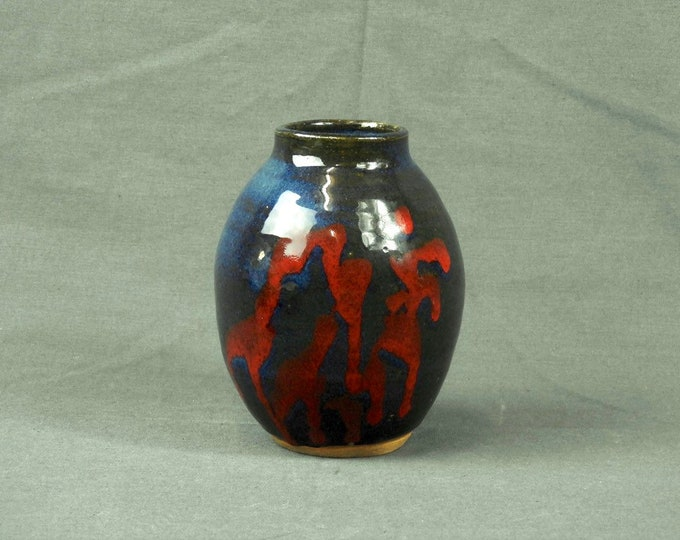 Vintage Pottery Vase, North American, Cave Painting Theme, Ceramic Art, Home Decor, Iridescent Blue, Red & Green, Chop Mark