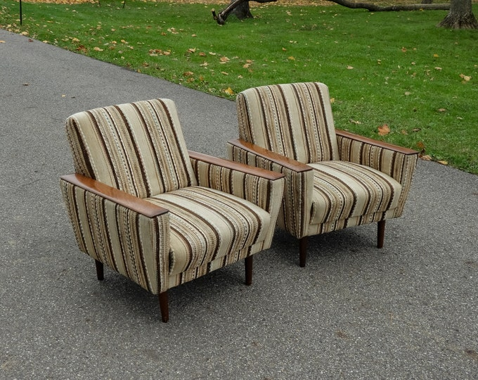 Vintage Club Chairs (2), Mid Century, Beige & Brown, Accent Stripes, Teak Brown, Wooden Armrest, Relaxed Armchair, Den Furniture, Home Decor