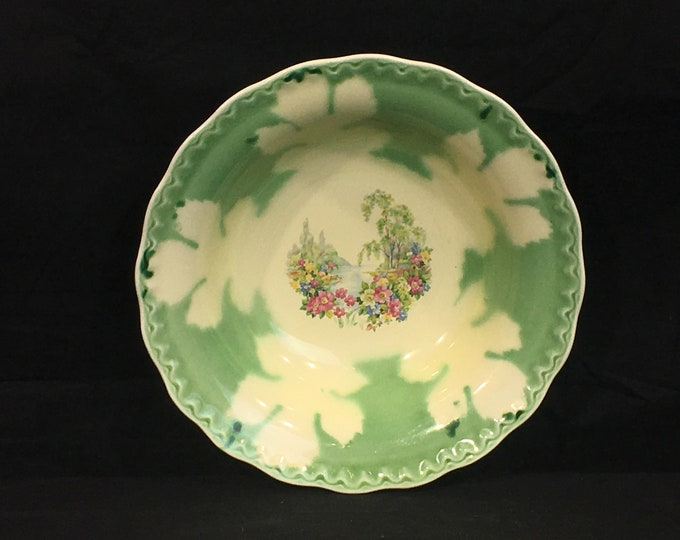 Vintage Springtime Flower Bowl, Green & White Porcelain Dish, Snowflake Theme Kitchenware, Decorative Dinnerware, Round Vegetable Bowl