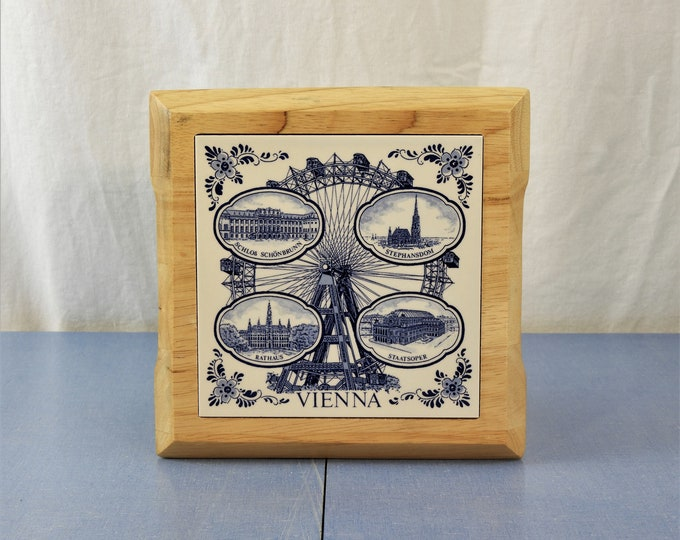 Vintage Delft Blue Trivet, Ceramic Potholder, Vienna Ferris Wheel, Holland Pot Holder, Wooden Frame, Staatsoper Rathaus, Kitchen Wall Decor