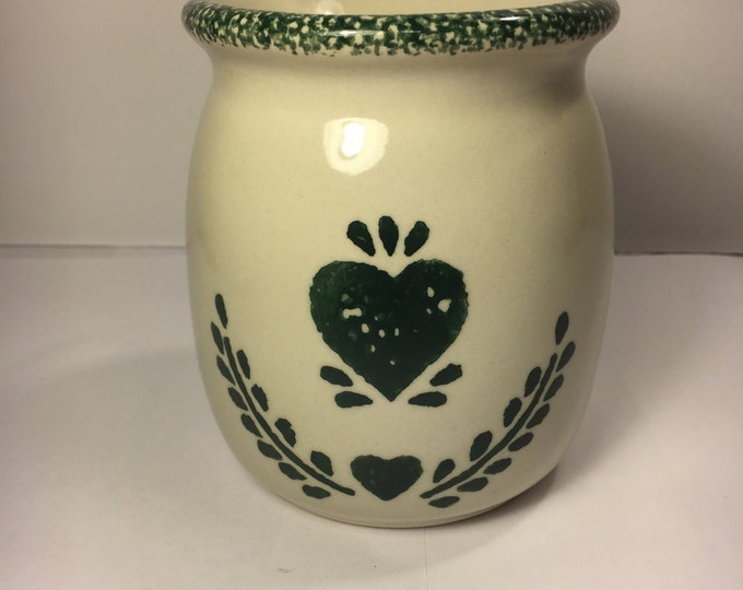 Vintage Heart Spongeware Warmer Pottery Candle Warmer Green Wax Melt Cottage Bottom Wax Bowl Top Spongeware Trim Cream made in China 4.5""