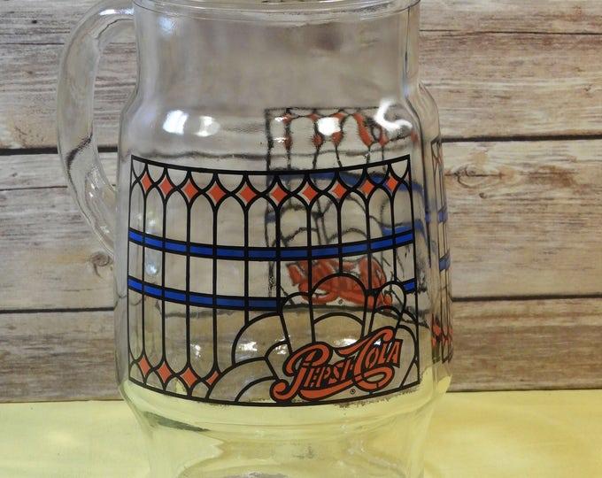 "Vintage Pepsi-Cola Glass Pitcher, Hand Painted Pitcher, Blue Red Black Pepsi Memorabilia Souvenir Serving Pitcher, Extra Wide Body 9.75"""