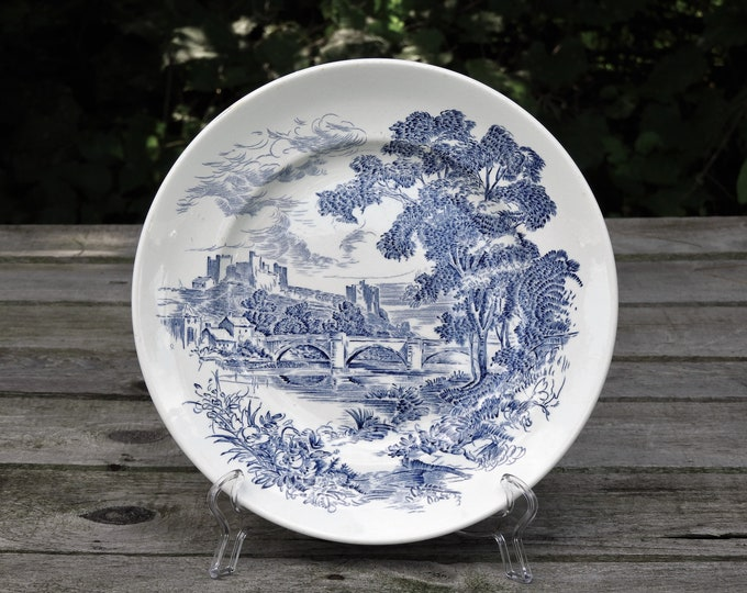 Vintage Blue & White Plate, Enoch Wedgewood, Countryside Theme, Kitchen Decor, Tunstall Transferware, 1940's China, Home Decoration
