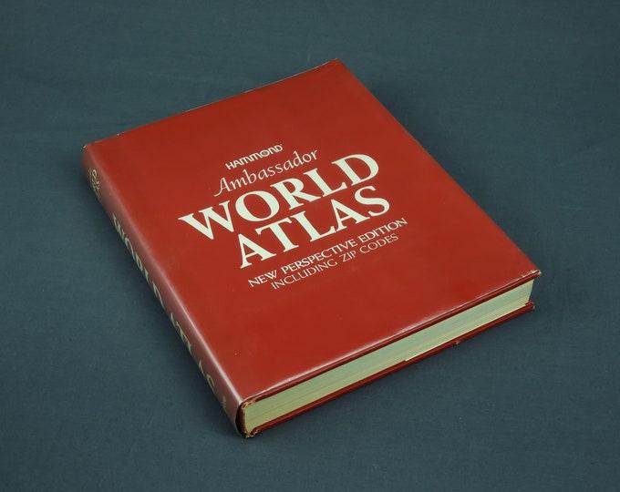 Vintage World Atlas, Hammond Ambassador, 1977 New Edition, Hardback Maps, Zip Codes, Home Decor, Red & White