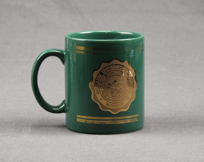 Vintage Coffee Mug, Ohio University Seal, Collectible Cup, Gold Gilt Trim, Sigillum Universitatis Ohiensis, Ceramic Drinkware, Home Decor