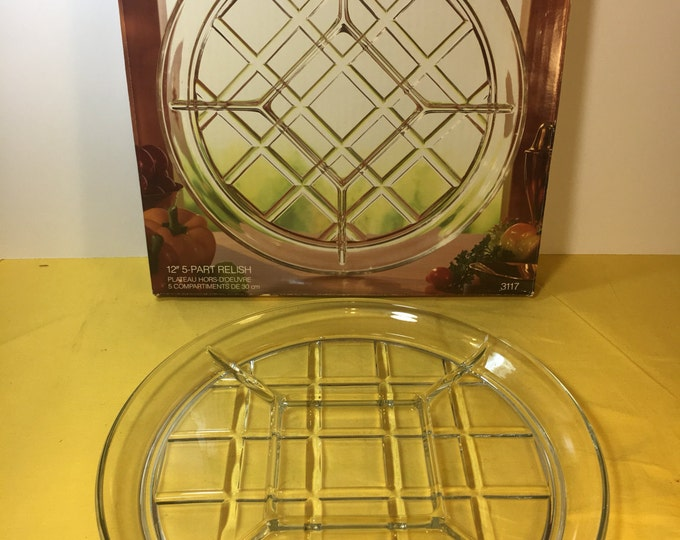 "Vintage Gazebo Lattice Tray, Clear Relish Dish Tray, 5 Section Indiana Glass 12"" Platter Server, Heavy Glass Tray 12"" 5 Section Veggie Dish"