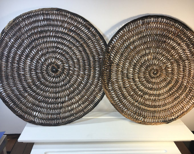 Vintage Set (2) Rattan Wooden Placemats, Spiraling Decorative Placemats, Retro Brown Wall Decorations, Patio Placemats, Rattan Mats 15""