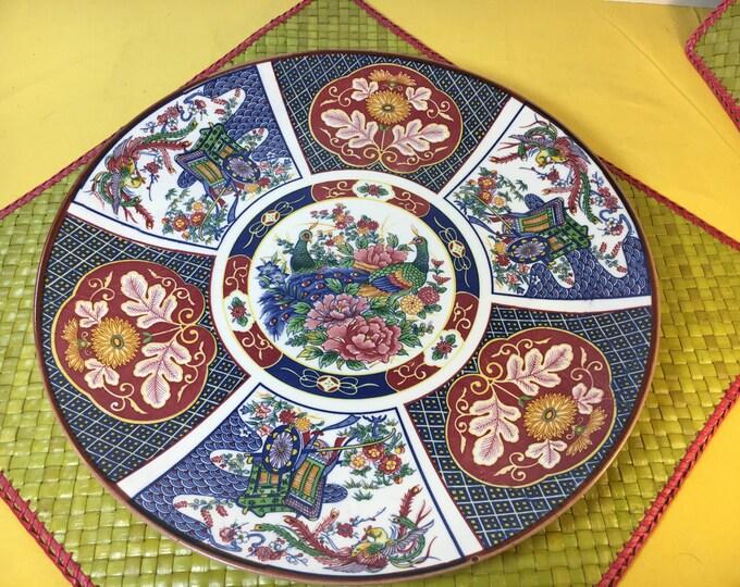 "Vintage Imari Style Serving Platter, Hand Painted Peacock Plate, Oriental Server Platter Plate, Blue and Red Oriental Peacock Plate 12.5"""