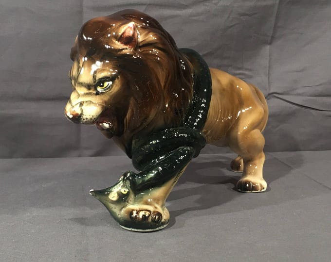 Vintage Nippon Lion & Snake Statue, Decorative Brown Porcelain, Collectible Animals in Battle, Wildlife Shelf Sitter, Snake Big Cat Ceramic