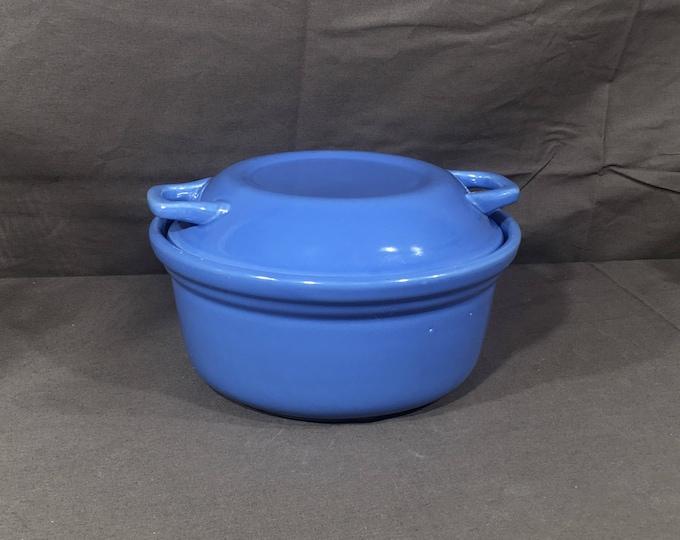 Vintage Stoneware Bean Pot, Art Deco Casserole Dish, Decorative Blue Stock Pot, Round Kitchen Dish, Retro Cookware, Collectible Cookware