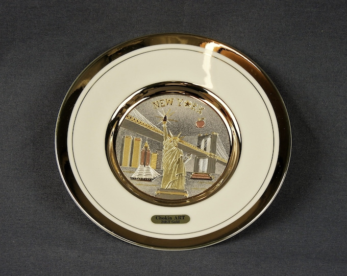 Vintage New York Plate, Chokin Art, Statue of Liberty, Gilded Gold & Silver, Home Decor, State Souvenirs, Made in Japan, Collectible Dish