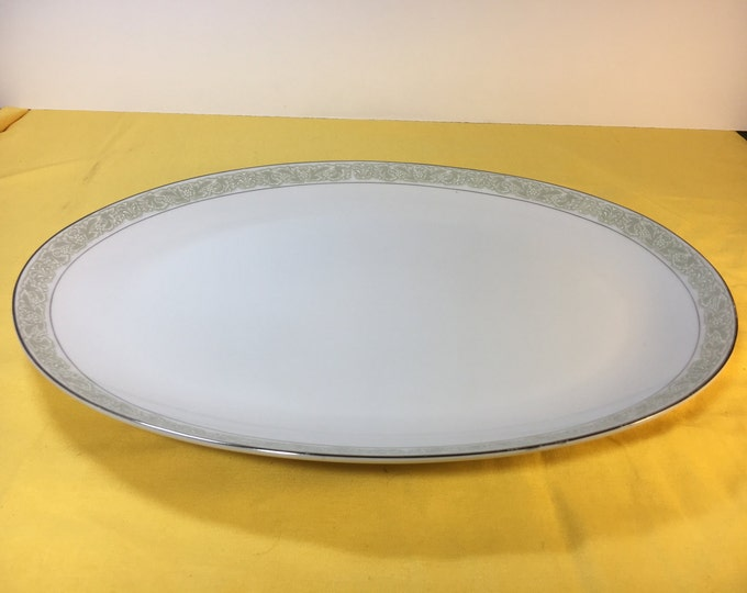 Vintage Debutante Platter, Large Fine China Platter 3072 Server Plate, Porcelain Platter Japan, White Porcelain Platter Soft Green, 14.25""