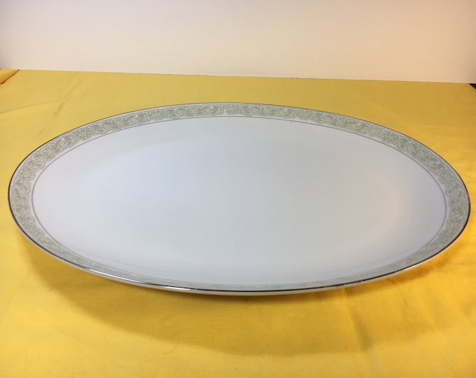 Vintage Debutante Platter, Large Fine China, Platter 3072, Server Plate, Porcelain Platter Japan, White Porcelain Platter Soft Green, 14.25""