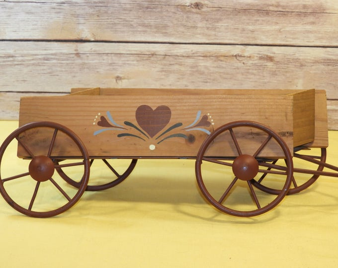 Vintage Wood Wagon Heart, Folk Art Wall Pocket Wagon, Table Decor Metal Wheels, Caddy, Rust Red Farmhouse Country Decor