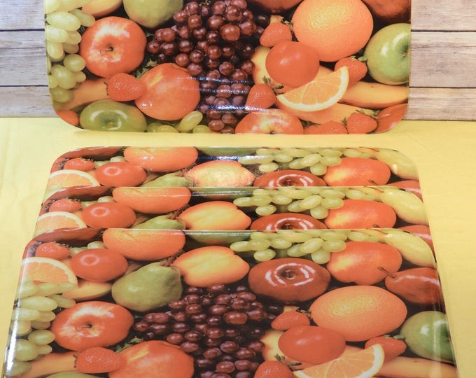 Vintage Sultans Fruit Placemats (4), Sultan's Linens Picture Art, Country Table Cover, Red Apple Orange Grape Decorative Kitchen Thick Cover