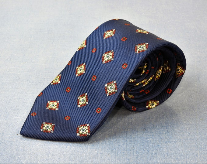 "Vintage Blue Tie, Gothic Star, Long 62"" Silk Necktie, Lands End, Direct Merchant, V290 Hand Sewn, Mens Fashion Closet, Navy Gold and Red"