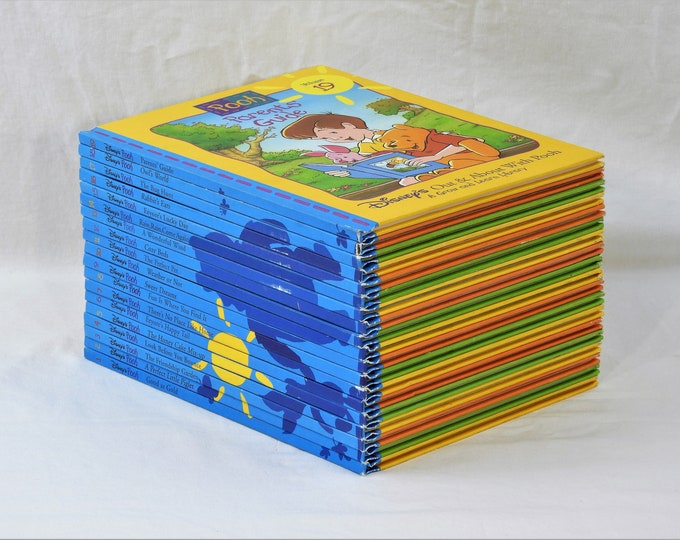 Vintage Children's Books, Complete Grow and Learn Library, Disney's Out & About With Pooh, 1996 Blue Shadow, Clean Hardbacks