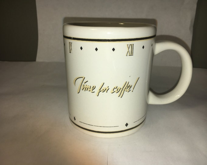 "Vintage Time Mug,  White ""Time for Coffee"" Mug, White Gold Mug Cup, made for Houston Foods Co. Made in China"