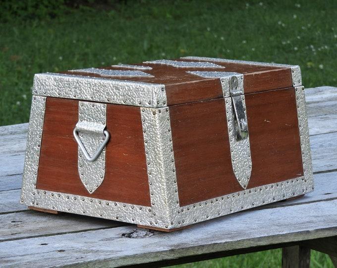 Vintage Medieval Chest, Wooden Strongbox, Jewelry Box, Vanity Decor, Hammered Metal, Brown & Silver, Distressed Wood, Isosceles Trapezoid