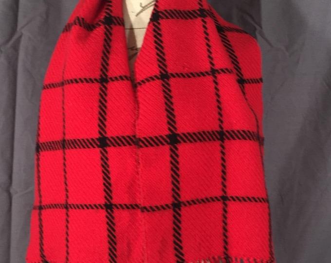 Vintage Lambswool Scarf, Jacobson's Red & Black Scarf, Womens Red Scarf, Checkered Red Black Scarf, Winter Wool Scarf, Geometrical Wrap