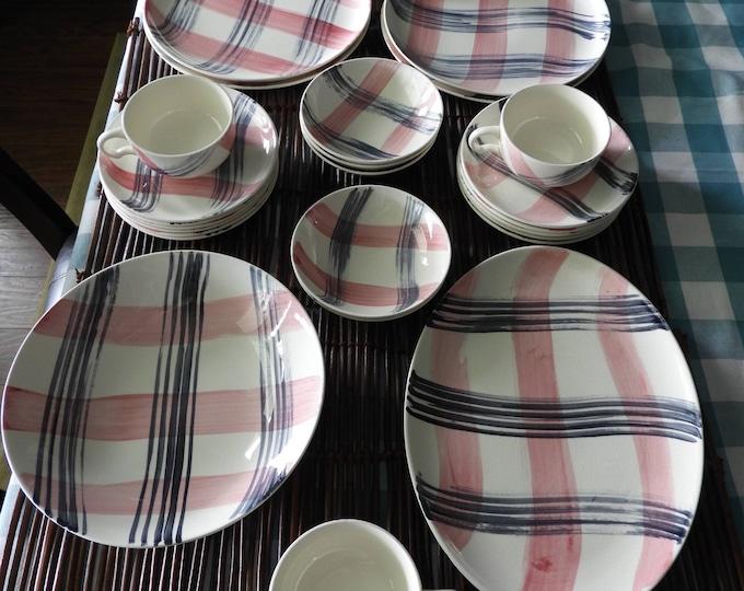 Vintage Blair Dinnerware, Woven Gray and Red Dinnerware Set (36 Pcs), Basket Stoneware China Porcelain, Ovenproof Handpainted Underglazed