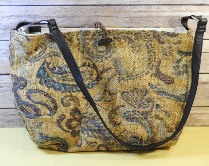 Vintage Shoulder Bag, Tapestry Paisley Bag, Decorative Gold Red Blue Handbag, Multi Section Quality Retro Style Purse, Caribbean Carpet Bag