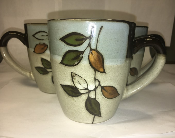 """Pfaltzgraff Lot (4) Rustic Leaves Mug Cup Leaves Brown Soft Green Almond made in China 4"""""""