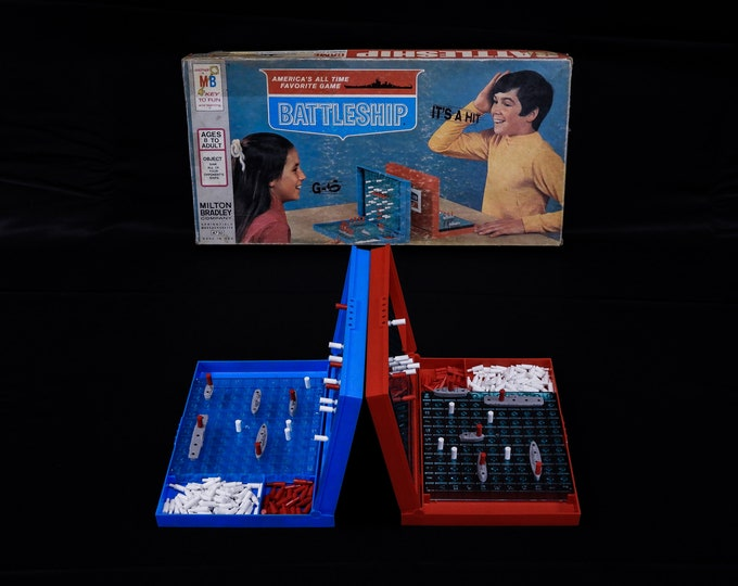 Vintage Battleship Game, 1971 Milton Bradley, Blue & Red, Two Player, Navy Combat, Gameroom Collectible, Naval Action, Home Decor